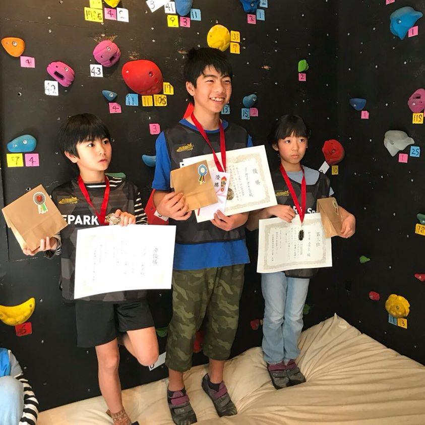 第1回 初心者対象のキッズボルダリング大会 表彰